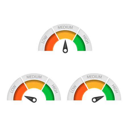 Icône de compteur de vitesse isolé sur fond blanc. Illustration vectorielle. Eps 10.