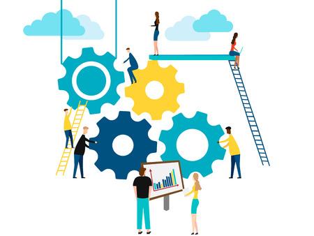 Concept van teamwork, mensen die tandwielen bouwen. geïsoleerd op een witte achtergrond. Vector illustratie.