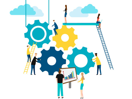 Konzept der Teamarbeit, Leute bauen Zahnräder. isoliert auf weißem Hintergrund. Vektor-Illustration.