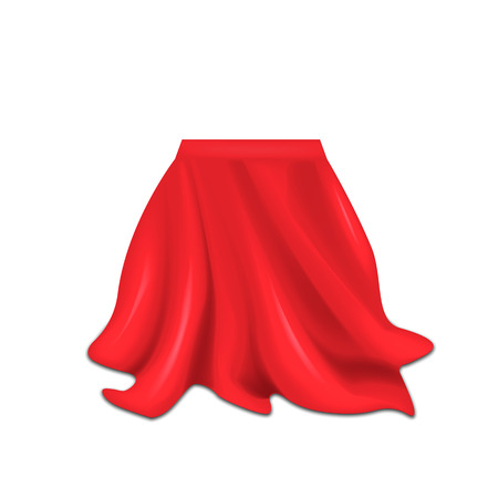 Realistic box covered with red silk cloth isolated on white background. Vector illustration. Eps 10. Ilustração