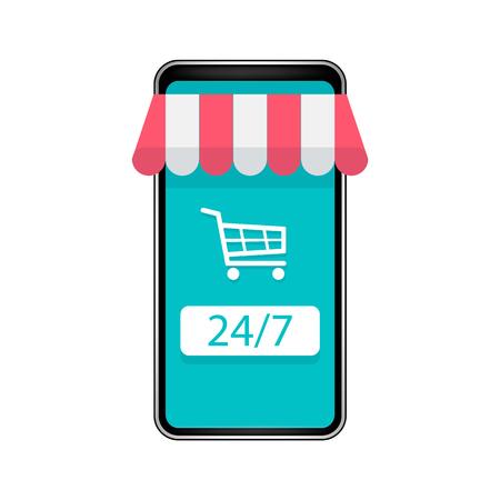 Online shop on modern smart phone isolated on white background. Vector illustration. Eps 10. Ilustração