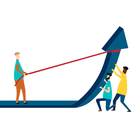 Business team holding up arrow isolated on white background. Vector illustration. Eps 10. Ilustração