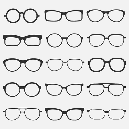 glasses icon set isolated on white background. Vector illustration.