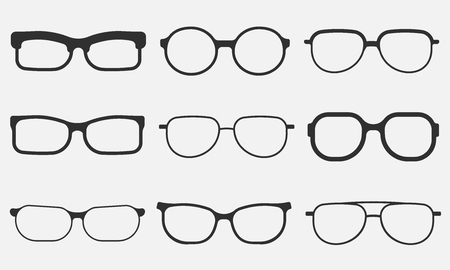 glasses icon set isolated on white background. Vector illustration.