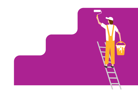 Worker man paints wall. Vector illustration. Eps 10