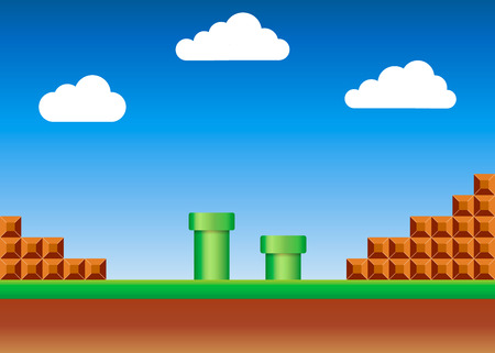 Old video game. retro style Background. Vector illustration. Eps 10 版權商用圖片 - 124778470