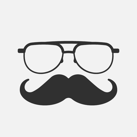 Mustache and Glasses Icon. isolated on white background. Vector illustration. Eps 10.