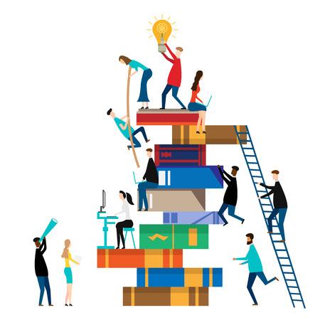 People climbing books. isolated on white background. Vector illustration. Eps 10 Ilustração