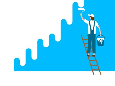 Worker man paints wall. Vector illustration. Eps 10 Vector Illustration