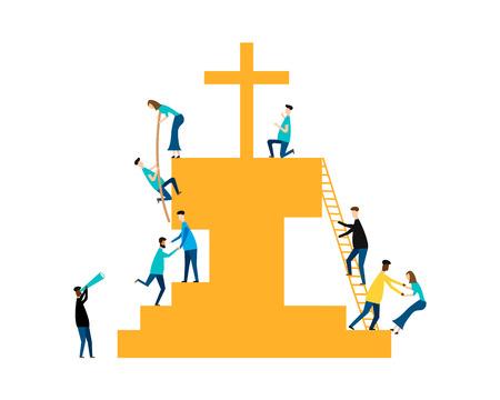 Jesus Savior concept isolated on white background. Vector illustration.
