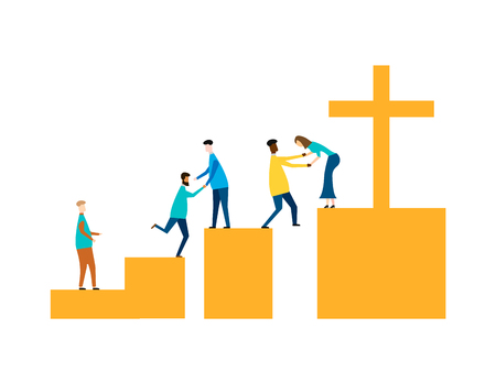 Concepto de Jesús Salvador aislado sobre fondo blanco. Ilustración vectorial.
