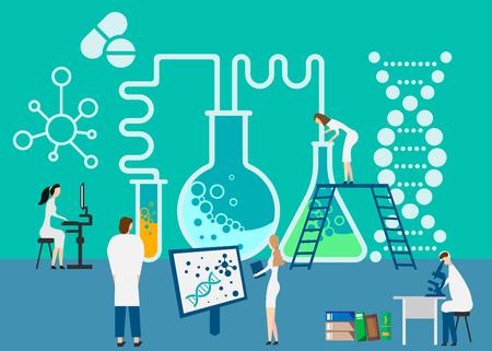 Working at research laboratorium. Vector illustration. Eps 10