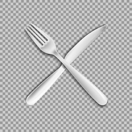 fourchette de couteau isolé sur fond blanc. Illustration vectorielle.