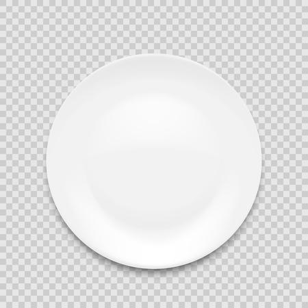 leere weiße Platte auf weißem Hintergrund. Vektor-Illustration.