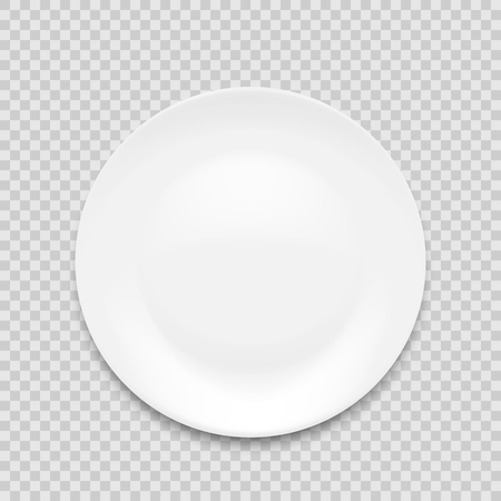 plato blanco vacío aislado sobre fondo blanco. Ilustración vectorial.