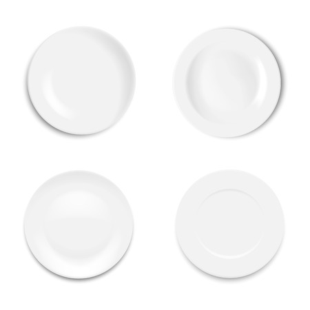 Set empty white plate isolated on white background. Vector illustration.