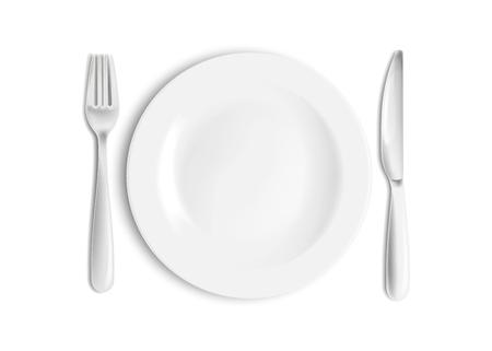 Coltello, cucchiaio e forchetta dell'acciaio inossidabile con il piatto isolato su fondo bianco. Illustrazione vettoriale. Eps 10.