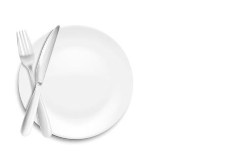 Cuchillo, cuchara y tenedor de acero inoxidable con plato aislado sobre fondo blanco. Ilustración vectorial. Eps 10.