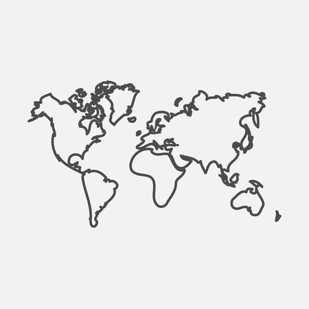 Weltkarte Kartensymbol. isoliert auf weißem Hintergrund. Vektor-Illustration. eps 10