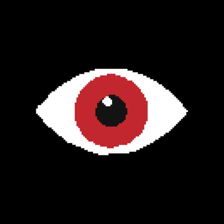 Icona del pixel dell'occhio isolato su sfondo nero. Illustrazione vettoriale. Eps 10
