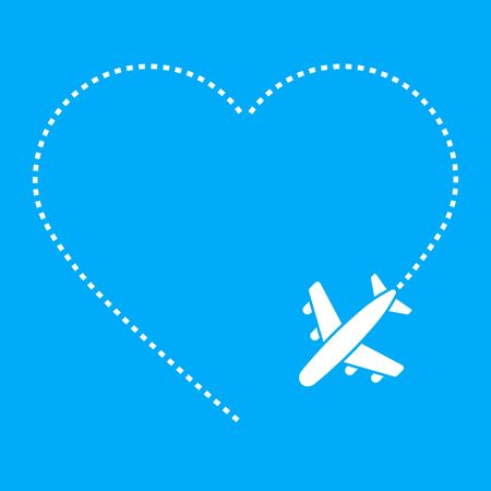 Love airplane route isolated on white background. Vector illustration Ilustração