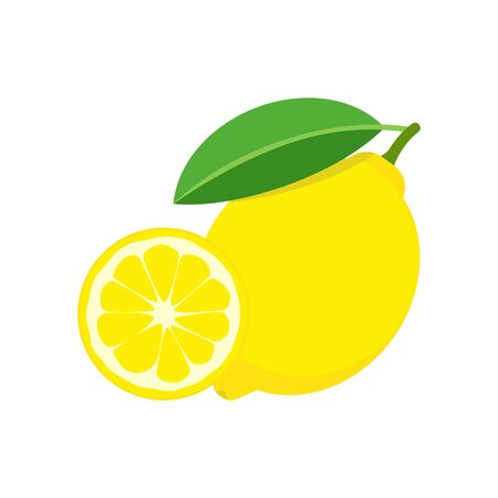 Fresh lemon fruits isolated on white background. Vector illustration.