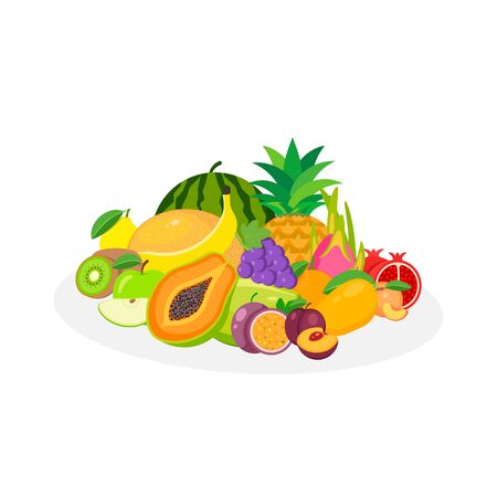 Assortment of exotic fruits isolated on white background. Vector illustration. Eps 10.