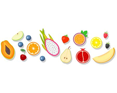 Fruits isolated on white background. Vector illustration. Eps 10. Stok Fotoğraf - 132072579