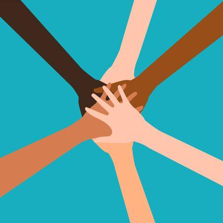 Manos de diverso grupo de personas poniendo juntos aislado sobre fondo blanco. Ilustración vectorial. Eps 10.