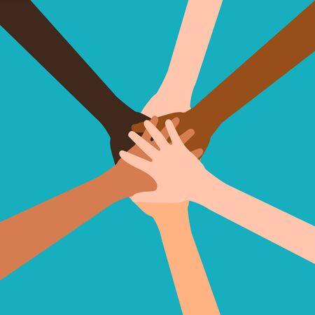 Hands of diverse group of people putting together isolated on white background. Vector illustration. Eps 10.