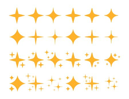 Twinkling star set isolated on white background. Vector illustration.