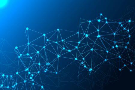 Tecnologia futuristica astratta delle molecole con le forme poligonali su fondo blu scuro. Illustrazione vettoriale. Eps 10. Vettoriali