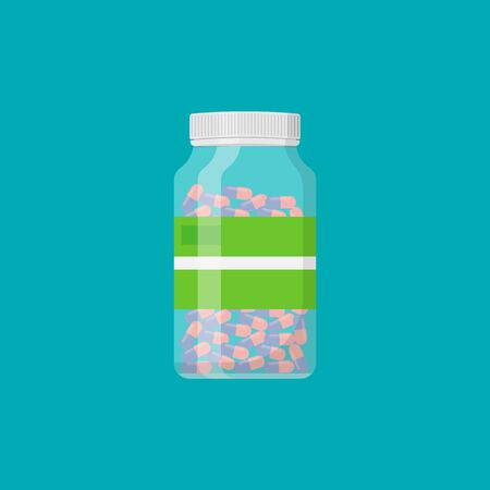 Pill bottle with capsule pills isolated on white background. Vector illustration. Ilustracja
