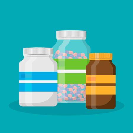 Plastic bottles medical isolated on white background. Vector illustration.