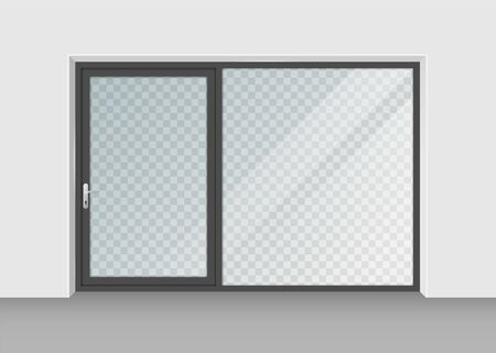 door with transparent glass isolated on background. Vector illustration.