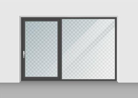 porta con vetro trasparente isolato su priorità bassa. Illustrazione vettoriale.