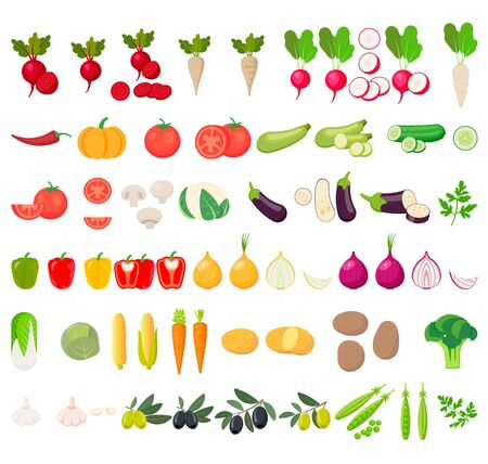 Vegetables icons. Collection farm product isolated on white background. Vector illustration. Eps 10.  イラスト・ベクター素材