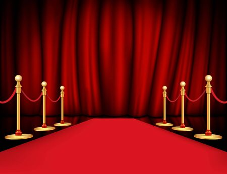 carpet path golden barrier with rope on both sides and closed curtain realistic. Vector illustration. Ilustrace