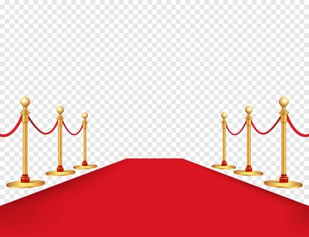 Red carpet and golden barriers realistic isolated on background. Vector illustration