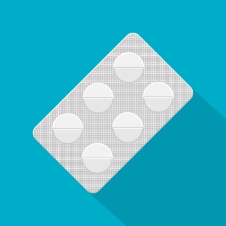Pills in a blister pack isolated on white background. Vector illustration.