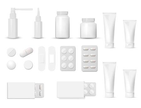 3D-blanco farmaceutische verpakkingen: blister van pil en capsules, buis, container voor tablet, fles voor drugs geïsoleerd op een witte achtergrond. Vector illustratie.
