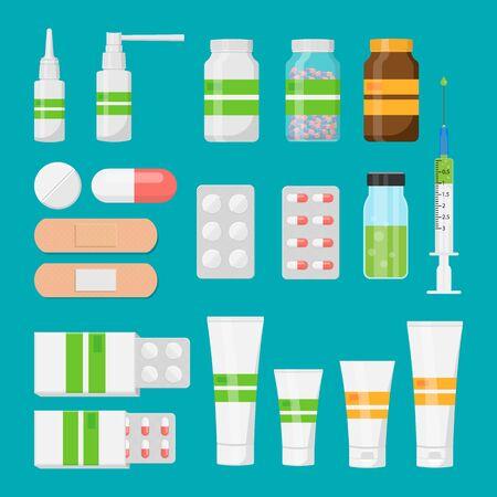 Set of pharmaceutical packs: blister of pill and capsules, tube, container for tablet, bottle for drugs isolated on white background. Vector illustration.