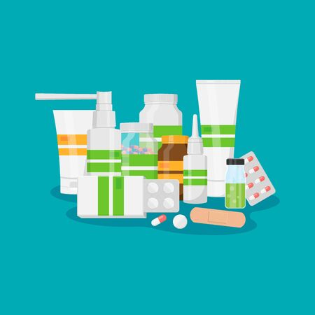 Different medical pills and bottles, healthcare and shopping, pharmacy, drug store isolated on background. Vector illustration. Ilustrace