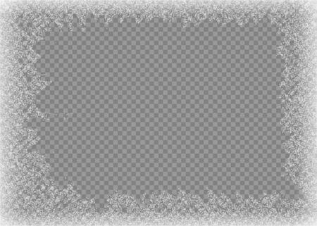 Rama śniegu. Zamarznięte okno. Okno mrożone szkło lód. Ilustracja wektorowa.