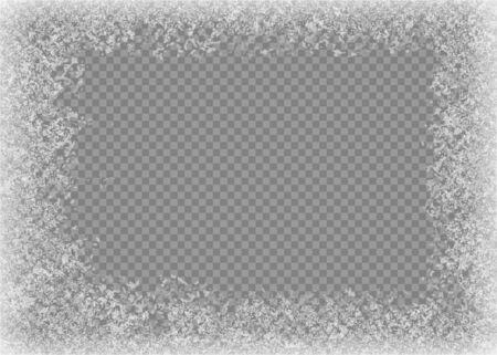 Marco de nieve. Ventana congelada. Ventana de vidrio congelado con hielo. Ilustración vectorial.