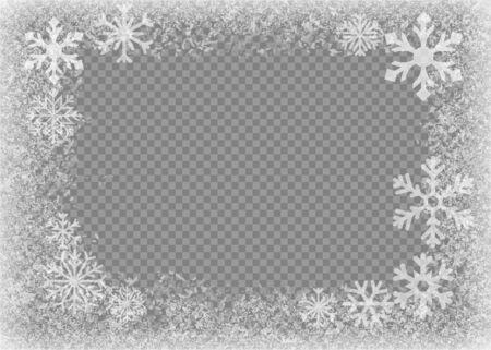 Snow frame. Frozen window. Window frozen glass ice. Vector illustration. Ilustrace