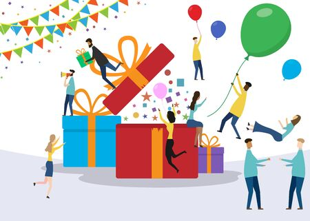 Gift box. Happy surprised people concept isolated on white background. Vector illustration.