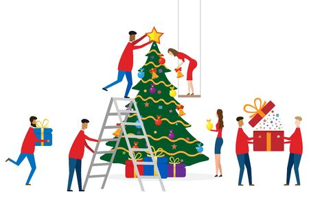 Christmas greeting card concept. Vector illustration.