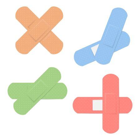 Medical adhesive bandage plasters isolated on white background. Vector illustration. Ilustrace