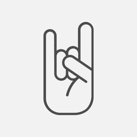 Rock sign line icon. Hand, pointing, finger. Gesturing concept isolated on white background. Vector illustration. Eps 10.